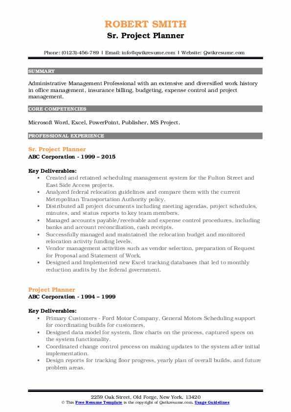 project planner resume samples