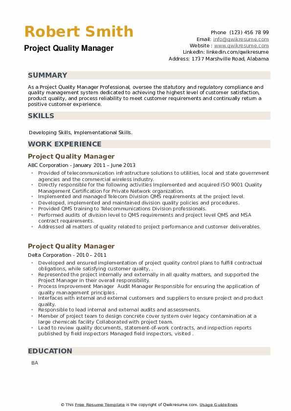 Project Quality Manager Resume example