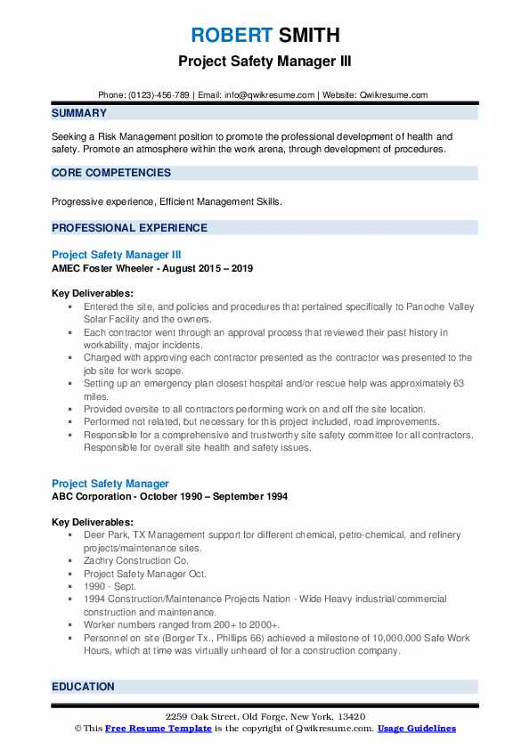 project safety manager resume samples