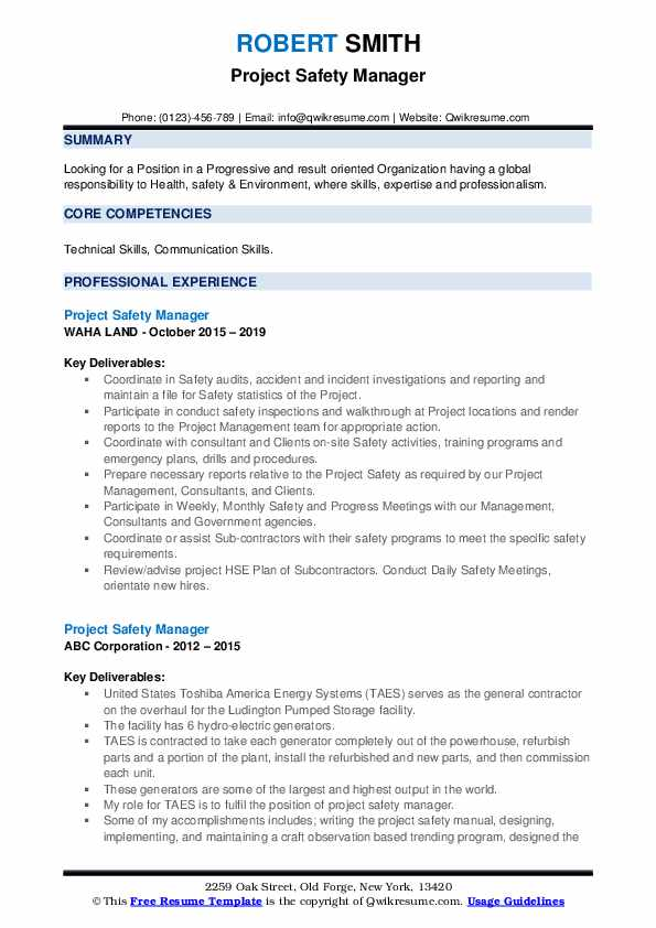 Project Safety Manager Resume example