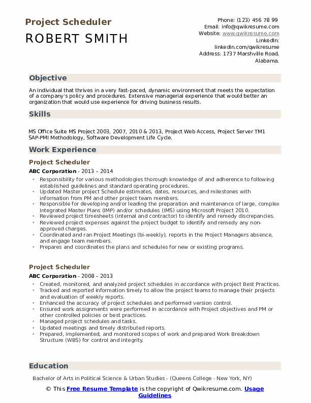Sample resume planner scheduler ctl prime resume cv