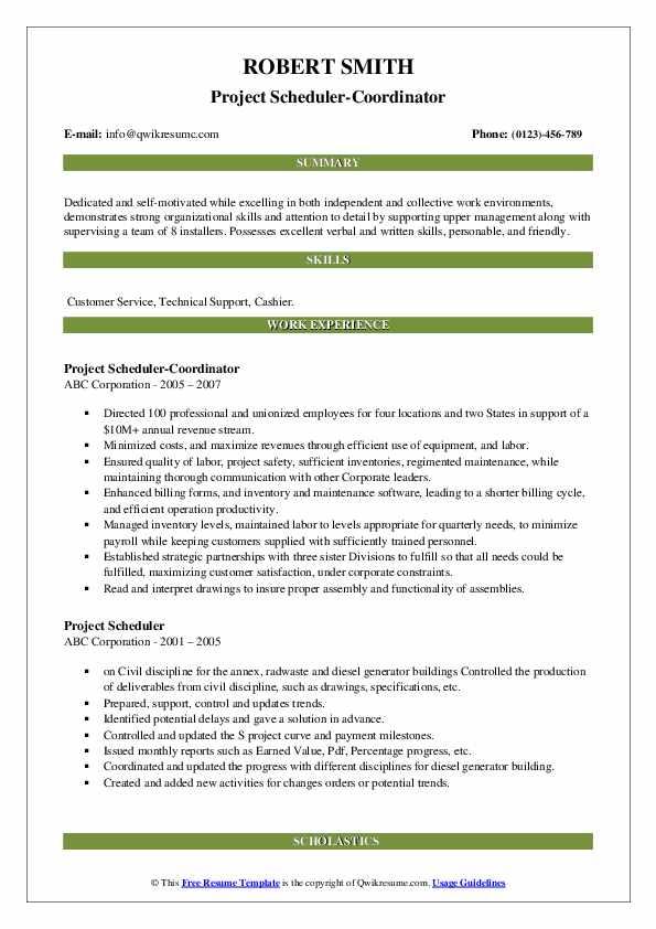 Project Scheduler-Coordinator Resume Format