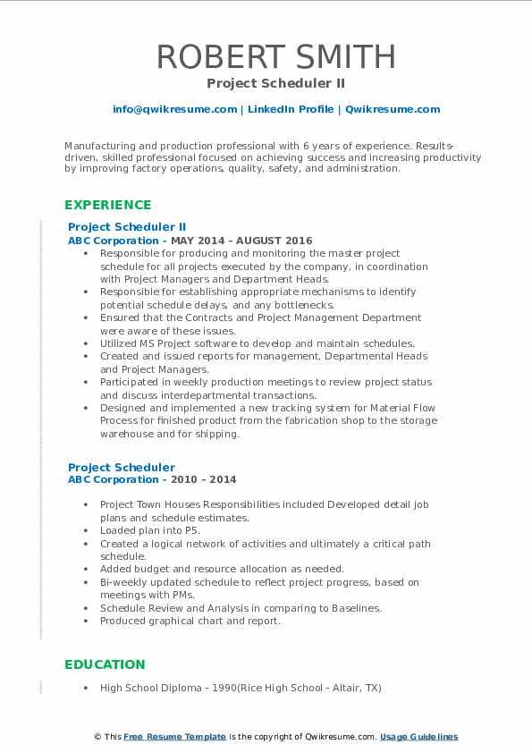Project Scheduler II Resume Sample