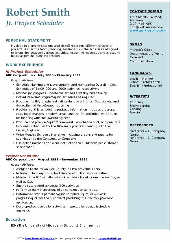 sample resume planner scheduler