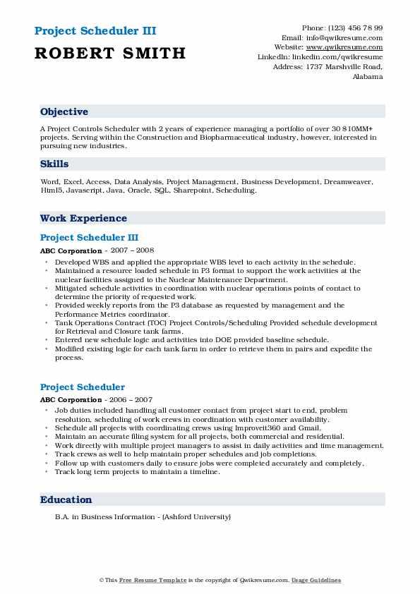 Project Scheduler III Resume Model