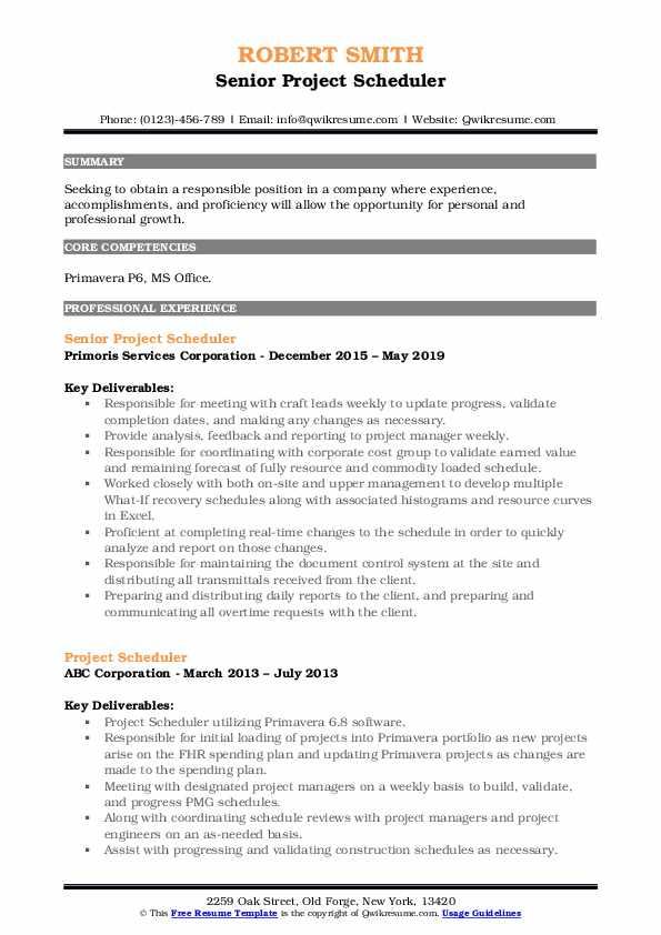 Senior Project Scheduler Resume Model