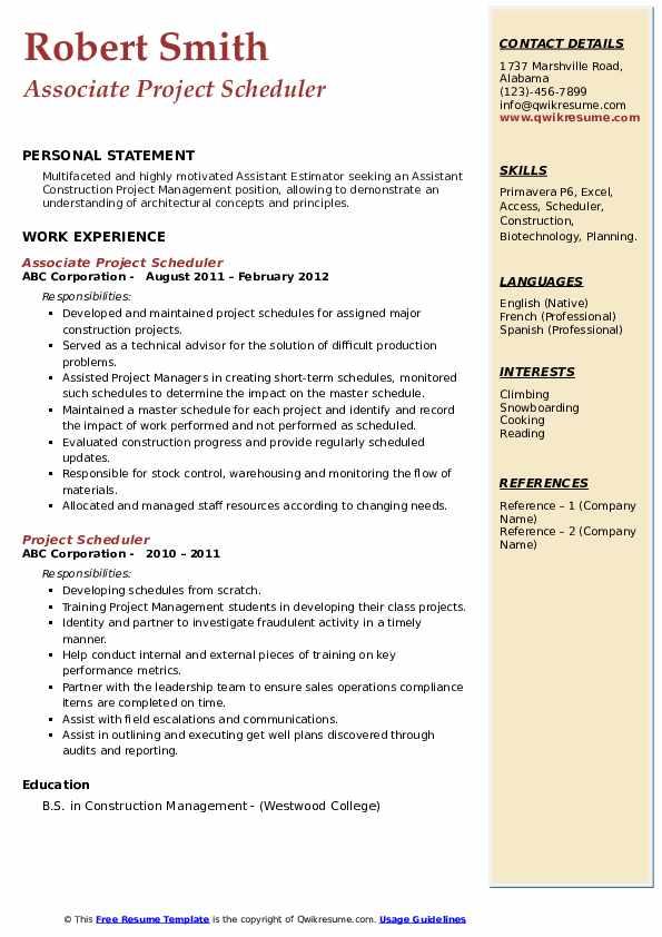 Associate Project Scheduler Resume Template
