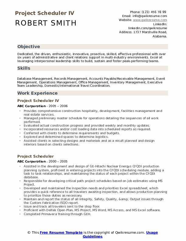 Project Scheduler IV Resume Format