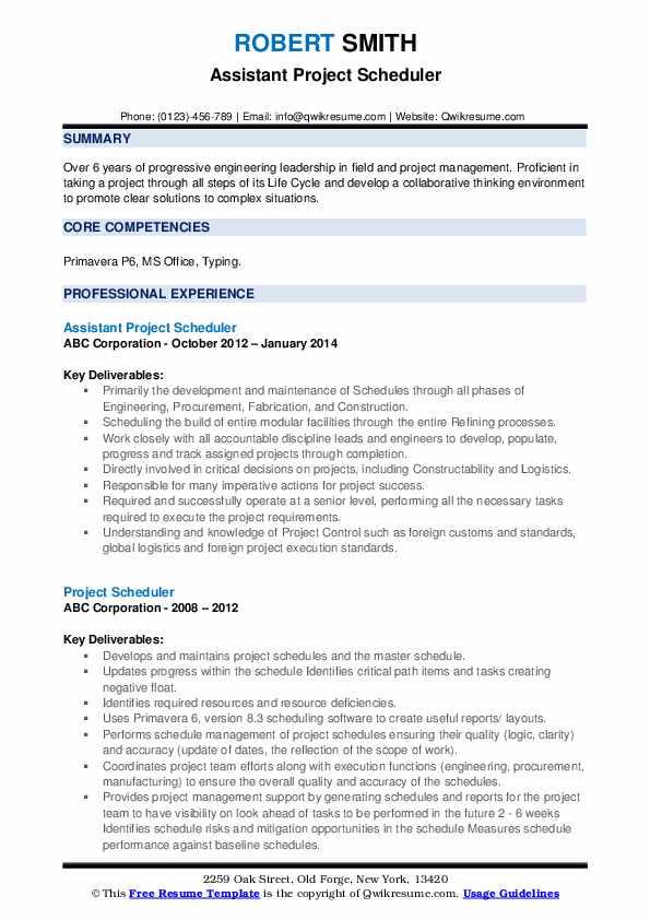 Assistant Project Scheduler Resume Model