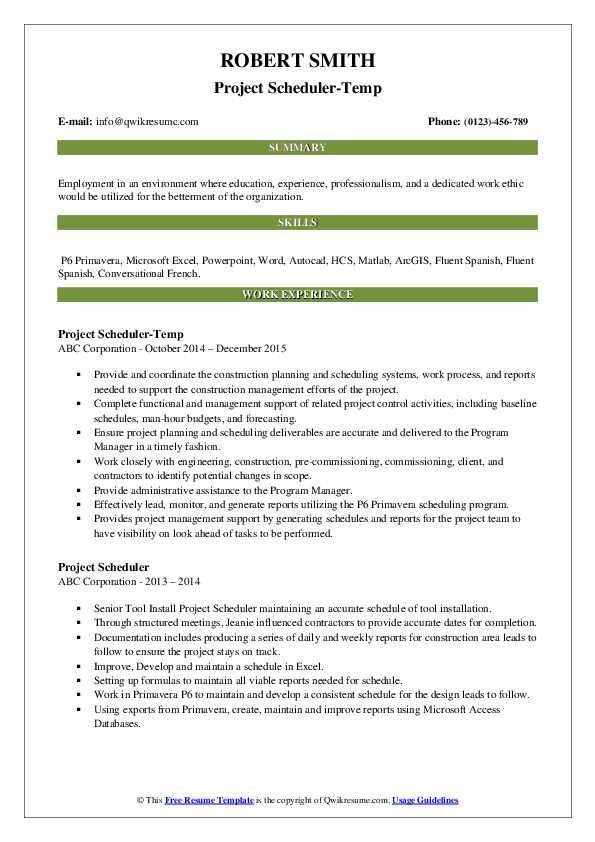 Project Scheduler-Temp Resume Template