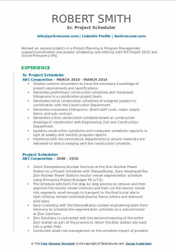 Sr. Project Scheduler Resume Format