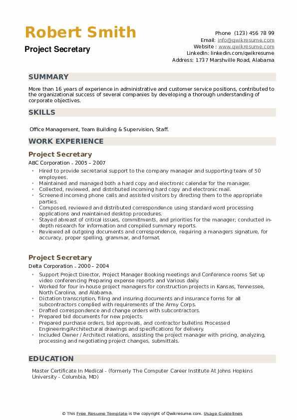 Project Secretary Resume example