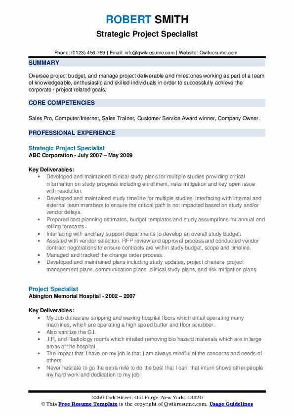 Strategic Project Specialist Resume Sample