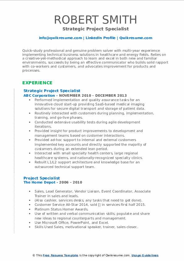 Strategic Project Specialist Resume Example