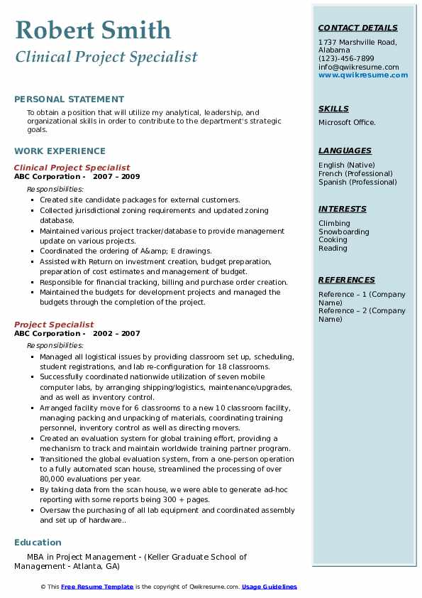 Clinical Project Specialist Resume Sample