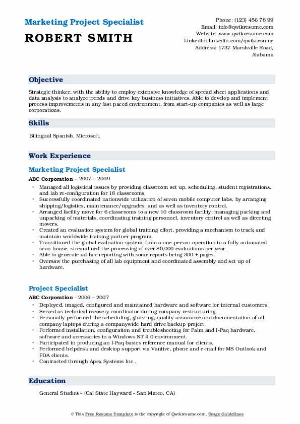 Marketing Project Specialist Resume Sample
