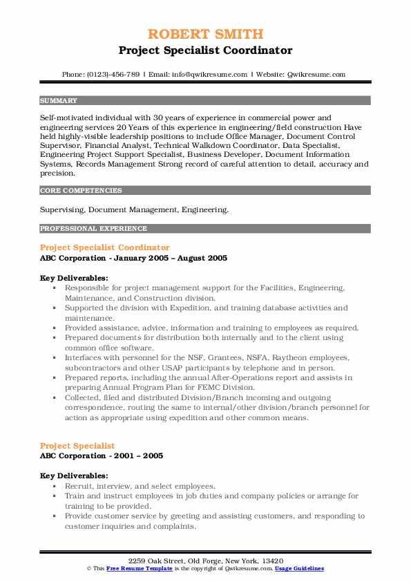 Project Specialist Coordinator Resume Model