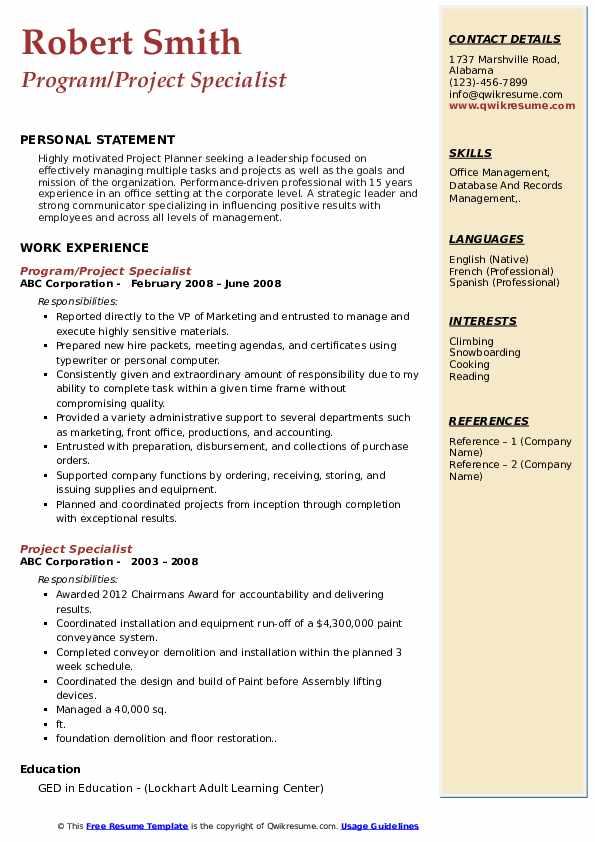 Program/Project Specialist Resume Model