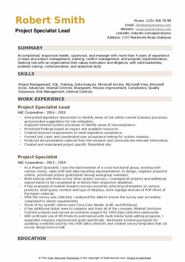 Project Specialist Lead Resume Example