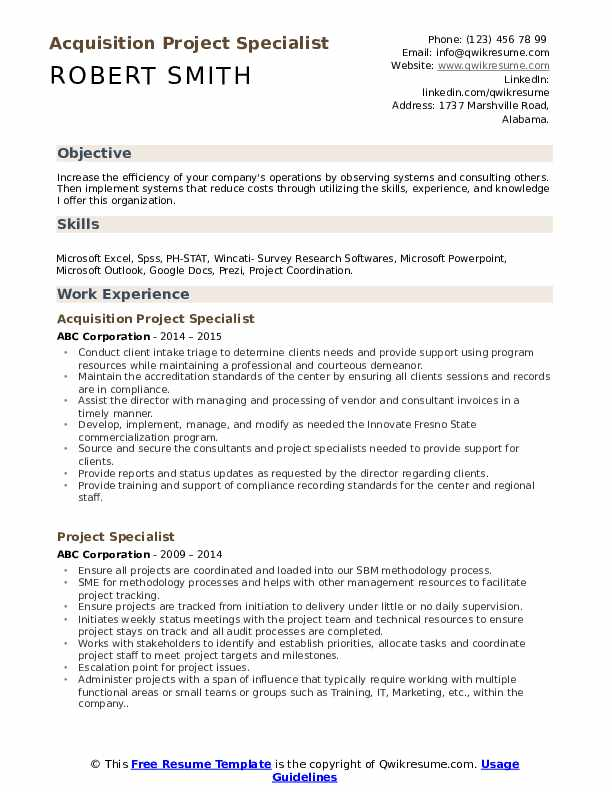 Acquisition Project Specialist Resume Template