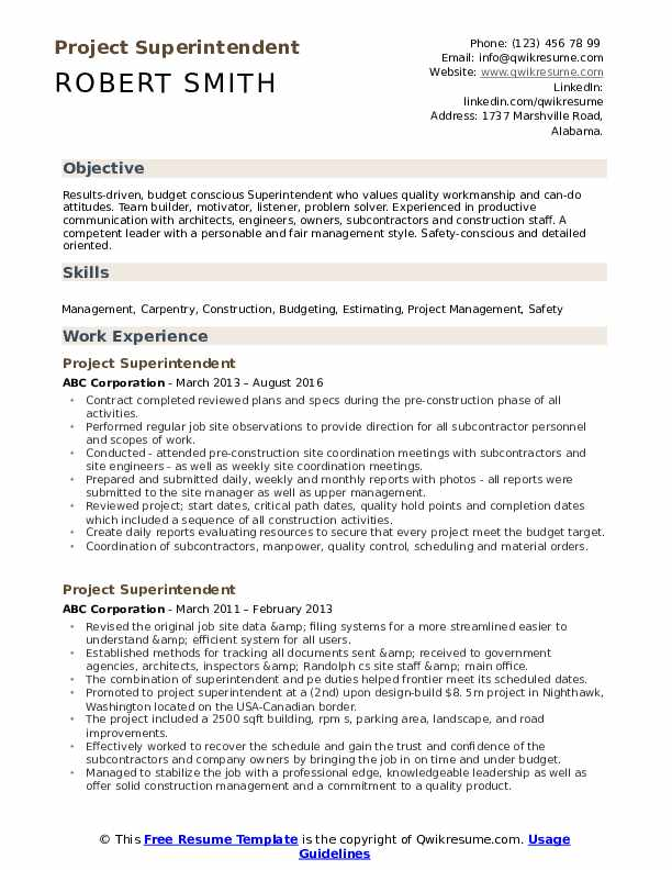 Project Superintendent Resume Example