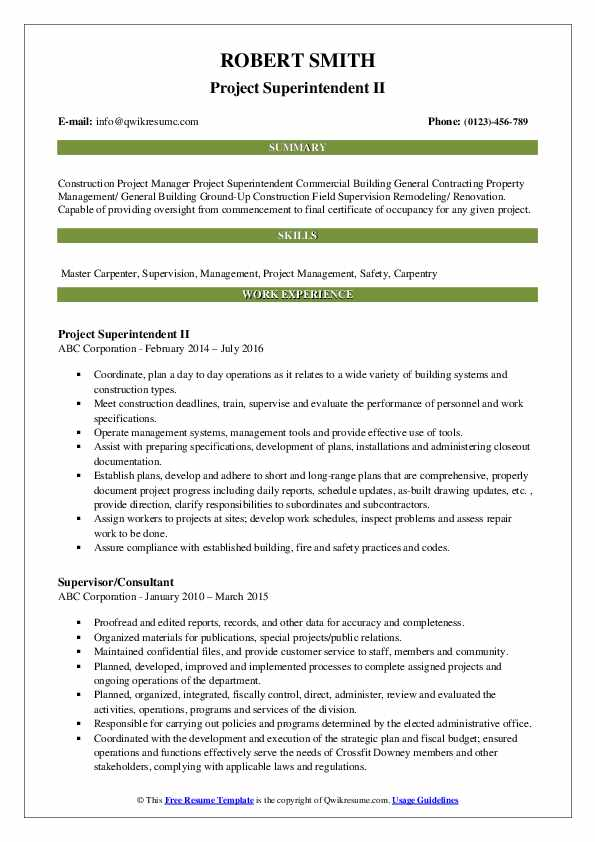 project superintendent resume samples
