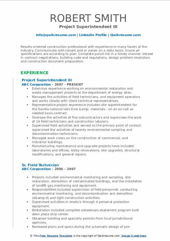 Project Superintendent III Resume Template
