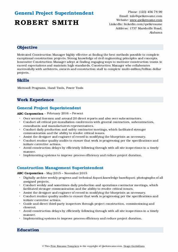 General Project Superintendent Resume Model