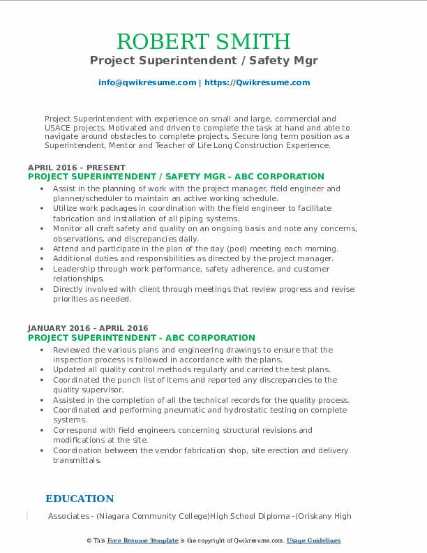 Project Superintendent / Safety Mgr Resume Sample