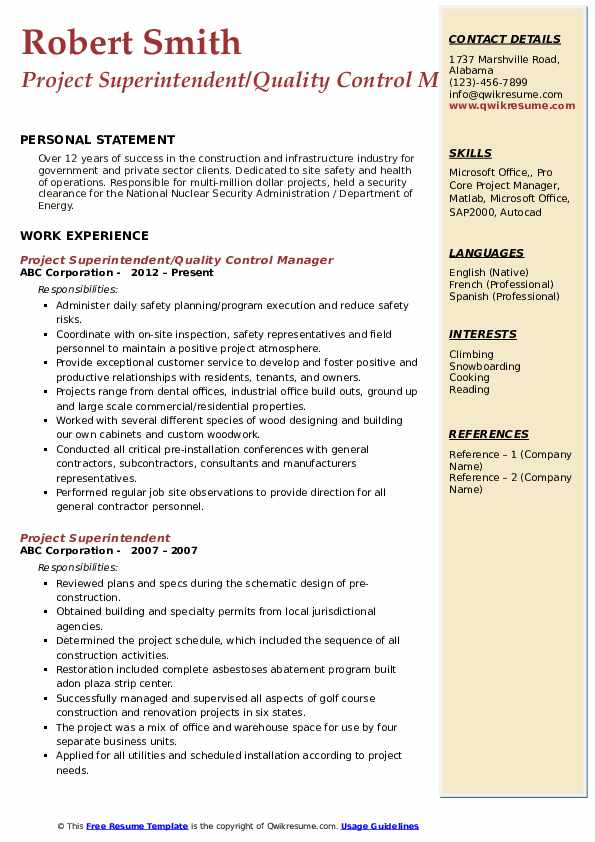 Project Superintendent Resume Samples | QwikResume