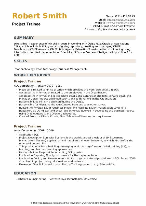 Project Trainee Resume Samples Qwikresume