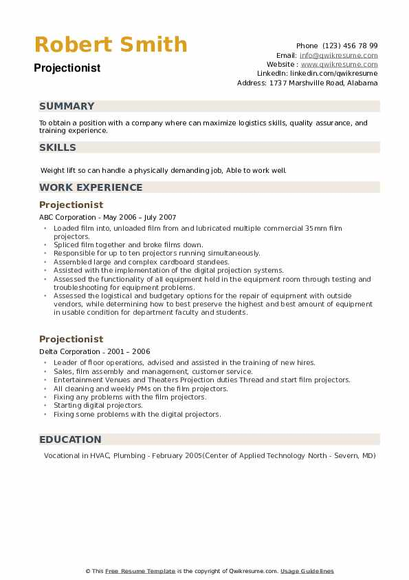 Projectionist Resume example