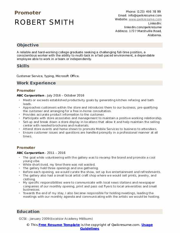 Promoter Resume Samples Qwikresume