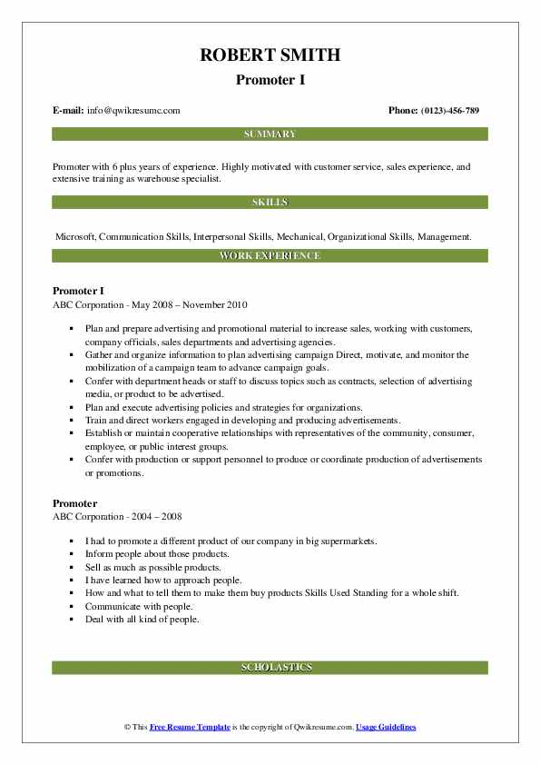 Promoter I Resume Template