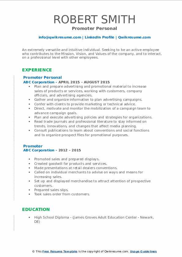 Promoter Personal Resume Template