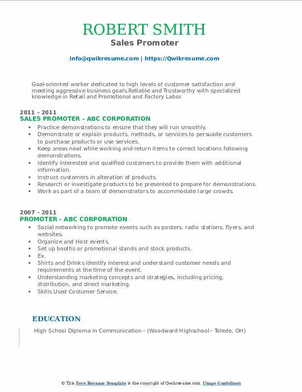 Sales Promoter Resume Model