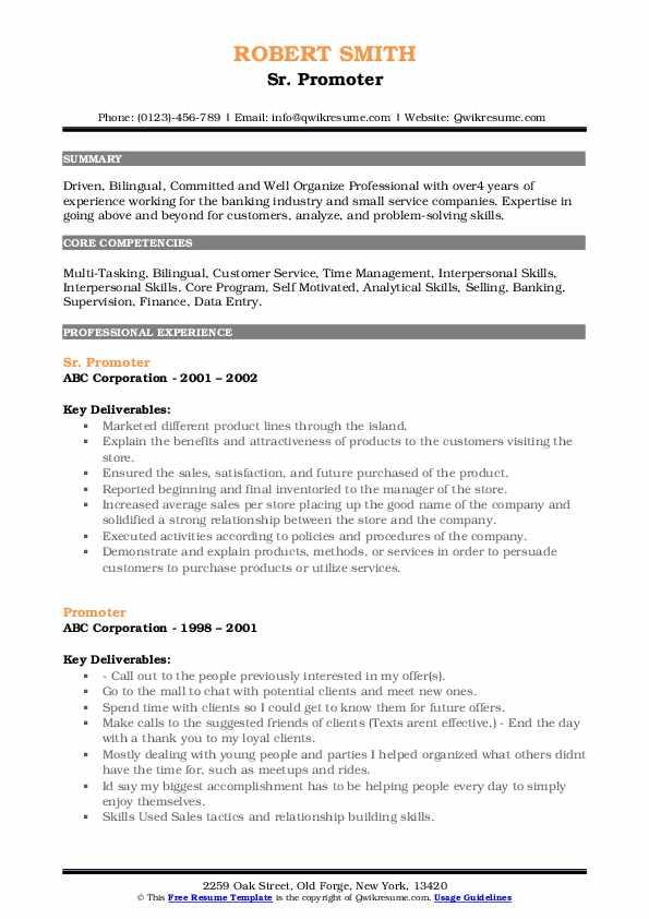 Sr. Promoter Resume Sample
