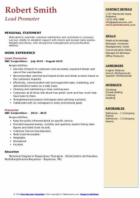 Lead Promoter Resume Format