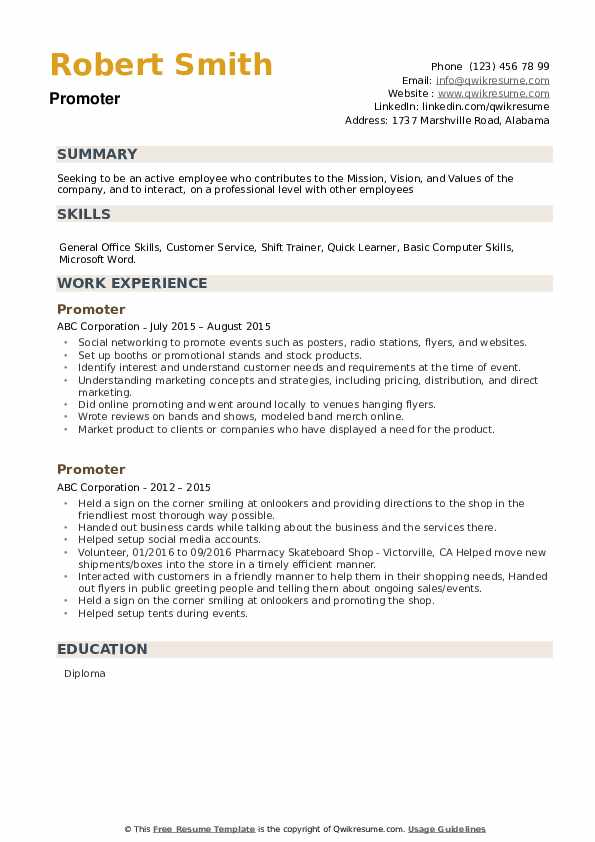 Promoter Resume example
