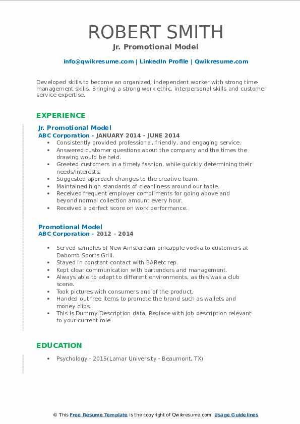 promotional model resume samples