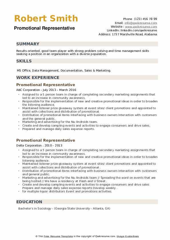 Promotional Representative Resume example