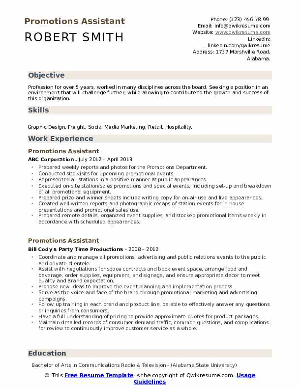 Promotions Assistant Resume Template