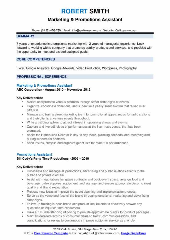 Marketing & Promotions Assistant Resume Model
