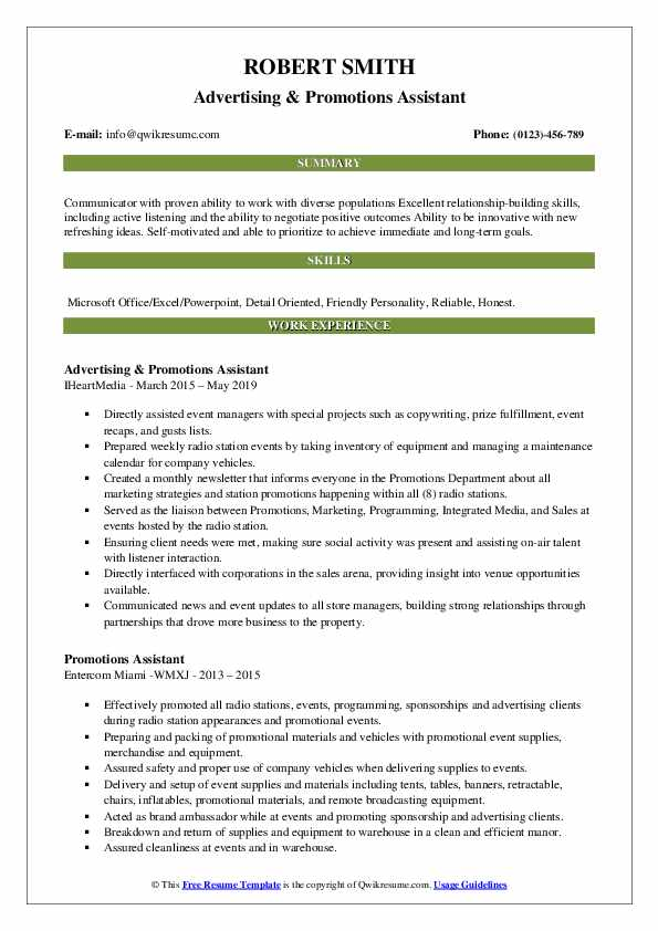 Advertising & Promotions Assistant Resume Format