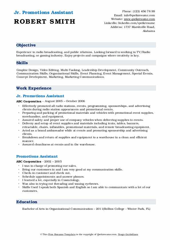 Jr. Promotions Assistant Resume Format
