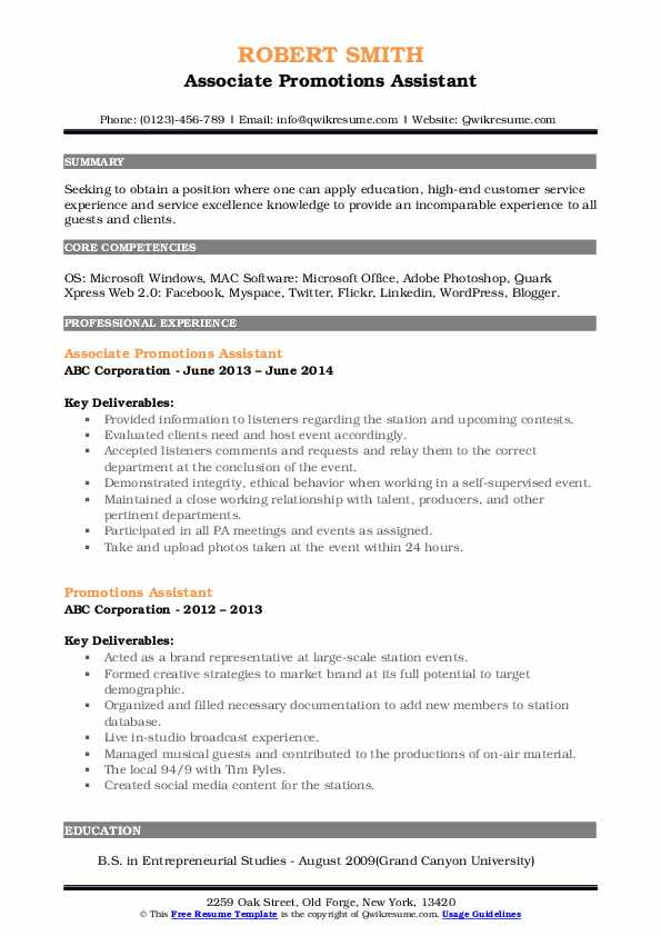 Associate Promotions Assistant Resume Sample