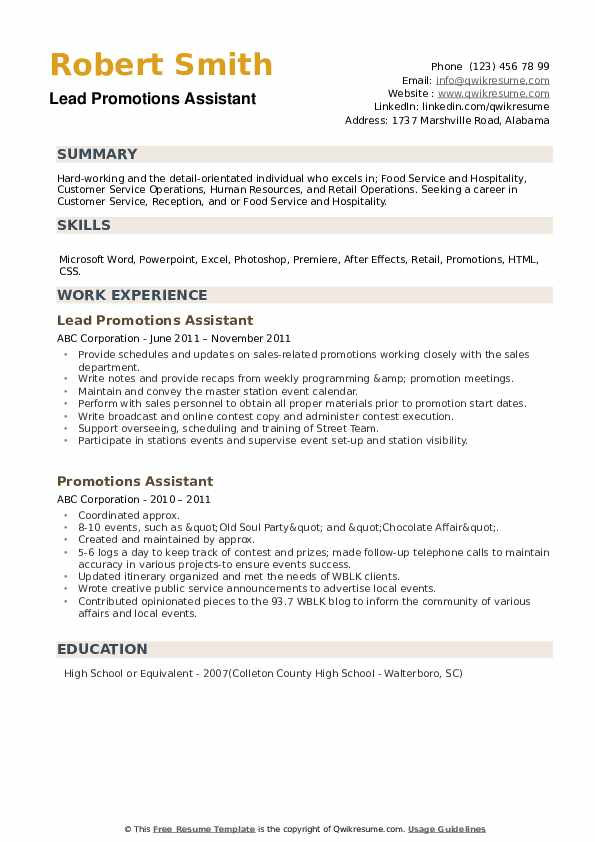 Lead Promotions Assistant Resume Model