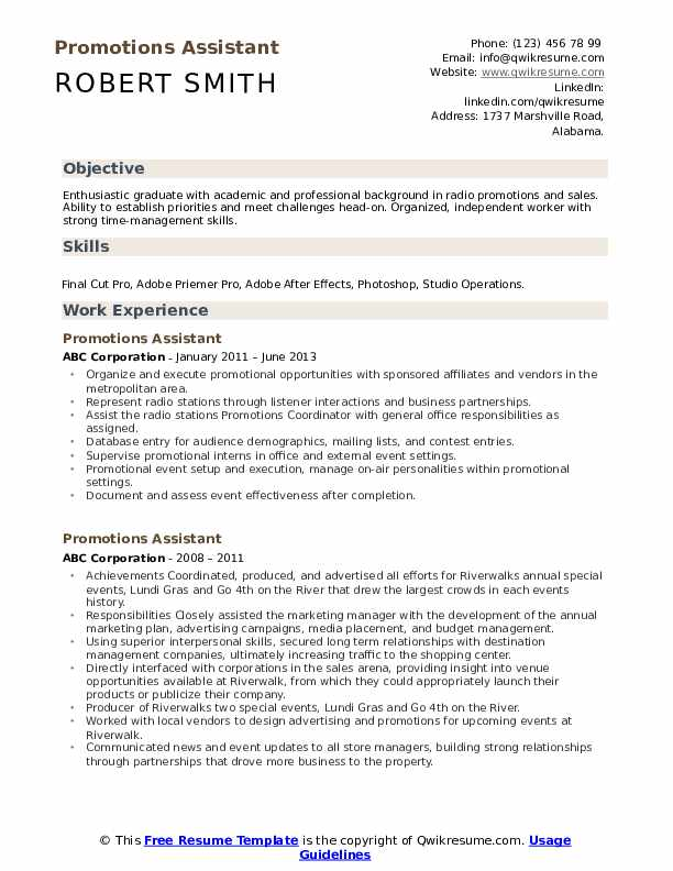 Promotions Assistant Resume example