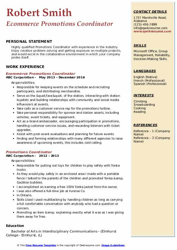 Ecommerce Promotions Coordinator Resume Template