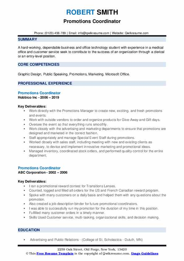 Promotions Coordinator Resume example